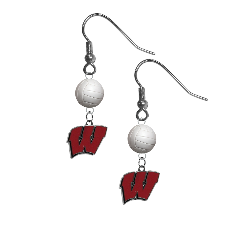 Wisconsin Badgers NCAA Volleyball Dangle Earrings