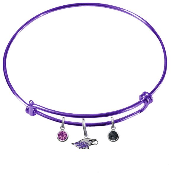 Wisconsin Whitewater Warhawks PURPLE Color Edition Expandable Wire Bangle Charm Bracelet