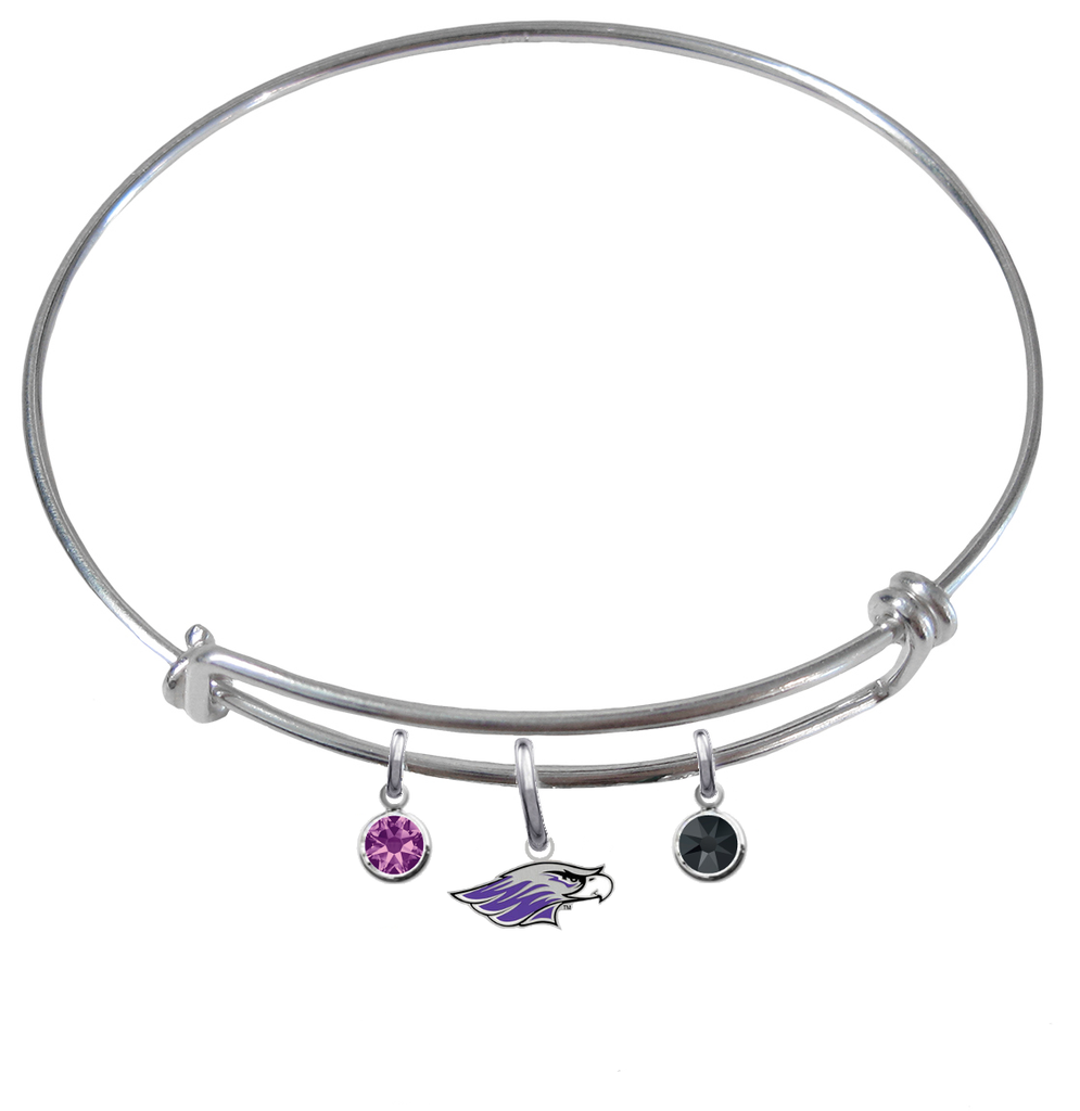 Wisconsin Whitewater Warhawks NCAA Expandable Wire Bangle Charm Bracelet