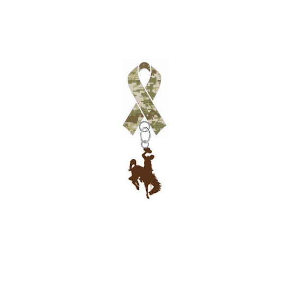 Wyoming Cowboys Salute to Service Military Appreciation Camo Ribbon Lapel Pin