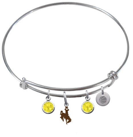 Wyoming Cowboys Basketball Expandable Wire Bangle Charm Bracelet