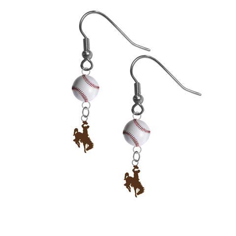 Wyoming Cowboys NCAA Baseball Dangle Earrings