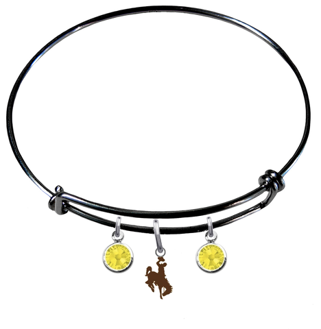 Wyoming Cowboys BLACK Expandable Wire Bangle Charm Bracelet