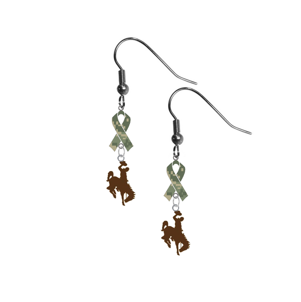Wyoming Cowboys Salute to Service Camouflage Camo Ribbon Dangle Earrings