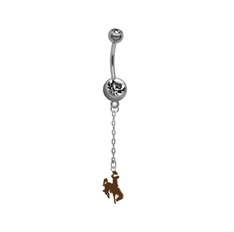 Wyoming Cowboys Dangle Chain Belly Button Navel Ring