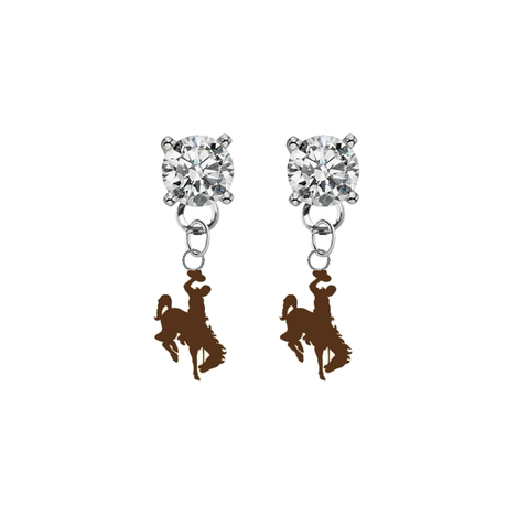 Wyoming Cowboys CLEAR Swarovski Crystal Stud Rhinestone Earrings