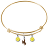 Wyoming Cowboys GOLD Expandable Wire Bangle Charm Bracelet