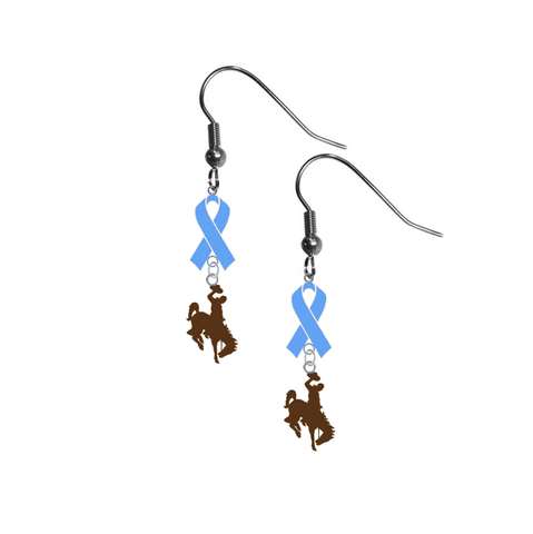 Wyoming Cowboys Mascot Prostate Cancer Awareness Light Blue Ribbon Dangle Earrings
