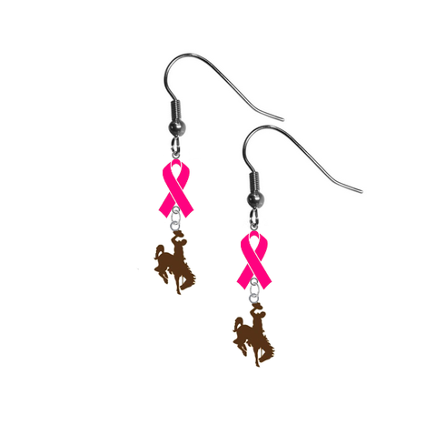 Wyoming Cowboys Breast Cancer Awareness Hot Pink Ribbon Dangle Earrings