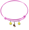 Wyoming Cowboys PINK Expandable Wire Bangle Charm Bracelet