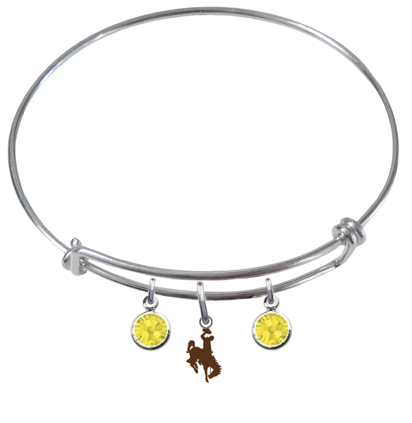 Wyoming Cowboys NCAA Expandable Wire Bangle Charm Bracelet