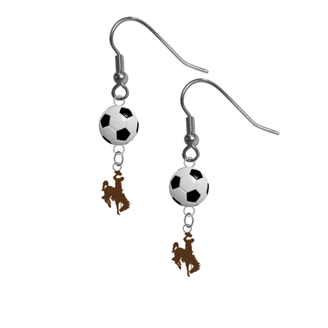 Wyoming Cowboys NCAA Soccer Dangle Earrings