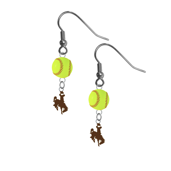 Wyoming Cowboys NCAA Fastpitch Softball Dangle Earrings