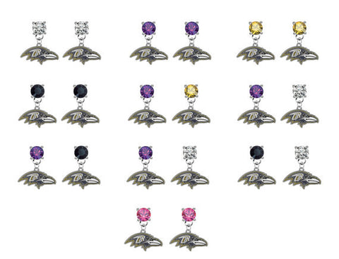Baltimore Ravens NFL Swarovski Crystal Stud Rhinestone Earrings