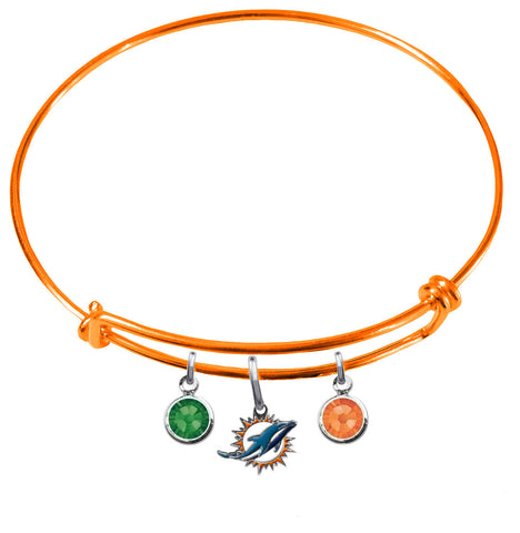Miami Dolphins Orange NFL Expandable Wire Bangle Charm Bracelet