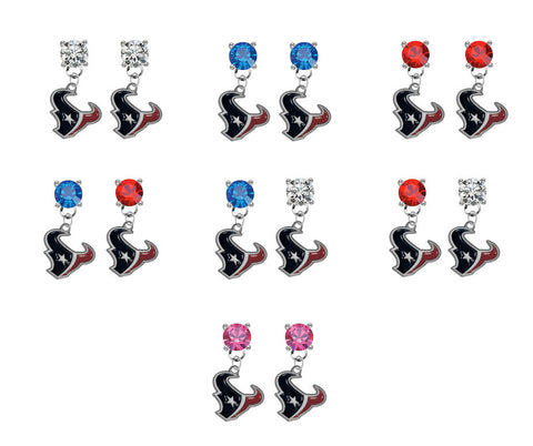 Houston Texans NFL Swarovski Crystal Stud Rhinestone Earrings