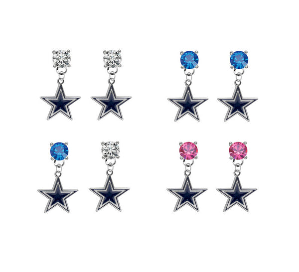 Dallas Cowboys NFL Swarovski Crystal Stud Rhinestone Earrings