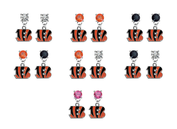 Cincinnati Bengals NFL Swarovski Crystal Stud Rhinestone Earrings