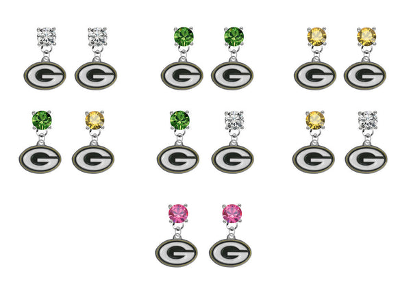 Green Bay Packers NFL Swarovski Crystal Stud Rhinestone Earrings