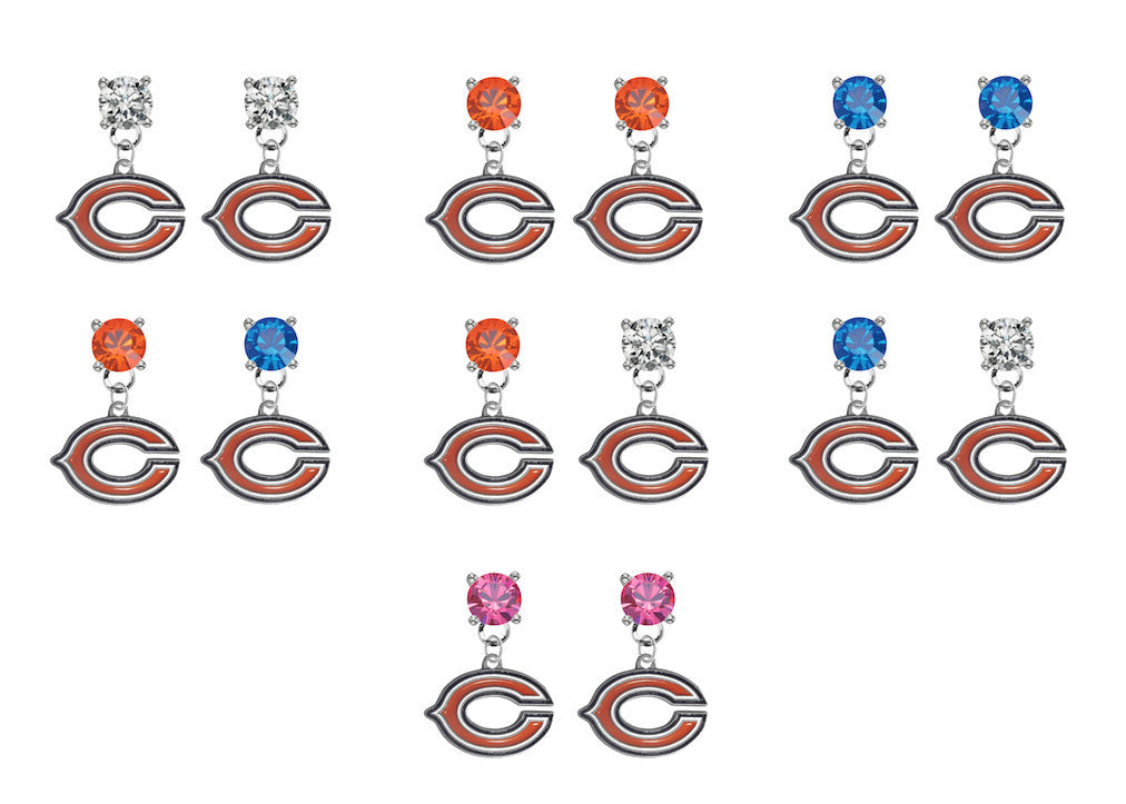 Chicago Bears NFL Swarovski Crystal Stud Rhinestone Earrings
