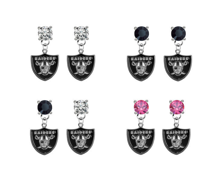 Oakland Raiders NFL Swarovski Crystal Stud Rhinestone Earrings