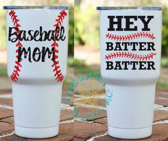 Baseball Mom Powder Coated Tumbler- Hey Batter Batter
