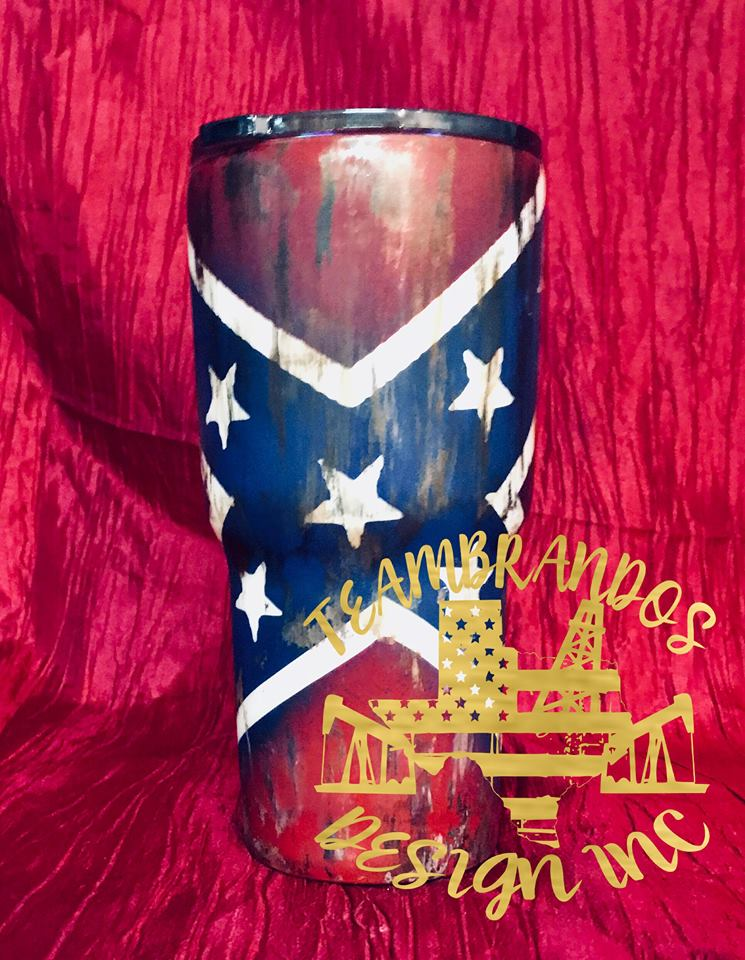 Rusted and Distressed Confederate Flag Stainless Steel Tumbler