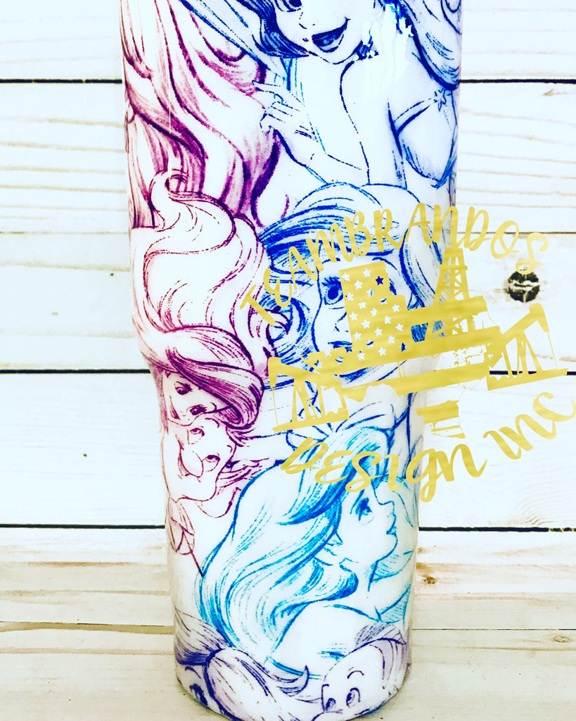 Little Mermaid Sketch Stainless Steel Tumbler