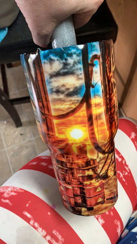 Oilfield Watercolor Stainless Steel Tumblers