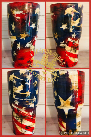 Stainless Steel Tumbler Triple flag Texas, Confederate and American distressed