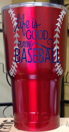 Life is Good Playing Baseball Glitter RTIC tumbler Red