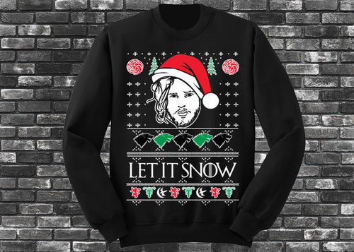 Let It Snow Jon Snow Unisex Ugly Christmas Sweatshirt - I Love Quilting Store
