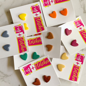 Clay Heart Stud Earrings - Large ~ choose colour