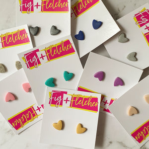 Clay Heart Stud Earrings - Small ~ choose colour