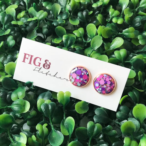 Glitter Bomb Studs ~ choose colour