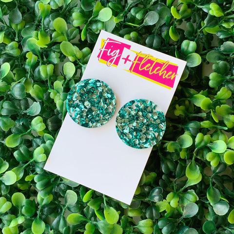 Luxe Glitter Mega Circle Studs ~ choose colour