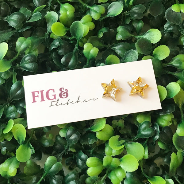 Luxe Glitter Star Studs ~ choose colour