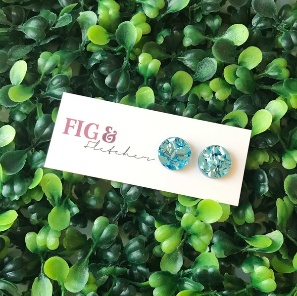 Luxe Glitter Circle Studs - Small ~ choose colour