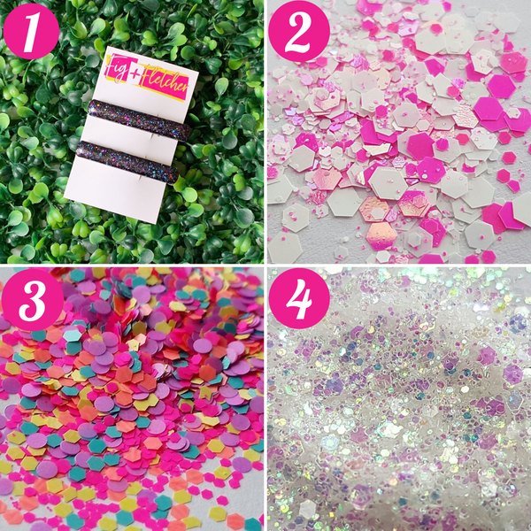 Glitter Bomb Hair Clips ~ choose colour