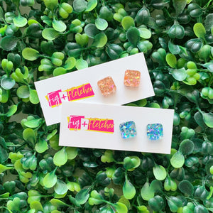 Supa Glitz Square Studs ~ choose colour