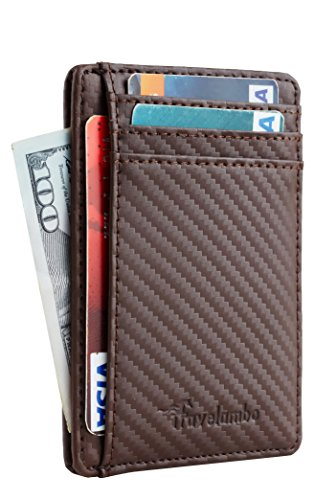 DELUXE LEATHER ID WALLET - Money Clip RFID Blocking