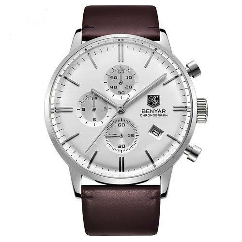 Lacroix Leather-Strap Stainless Steel Watch