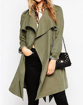 Fashion Women Asymmetric Lapel Open Front Belted Trench Coat
