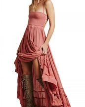 Casual Solid Halter Backless Maxi Dress