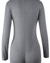 Chic Grey V-neck Long Sleeves Button Front Bodysuit