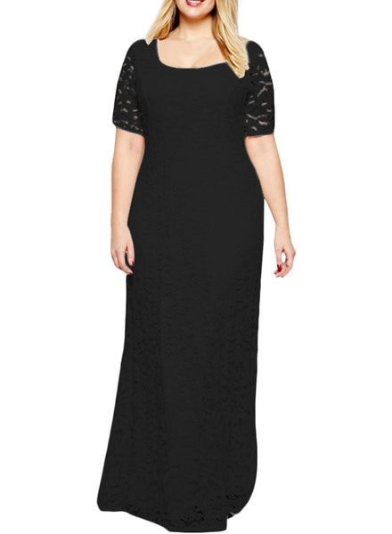 Women's Plus Size Short Sleeve Lace Full Length Evening Dress