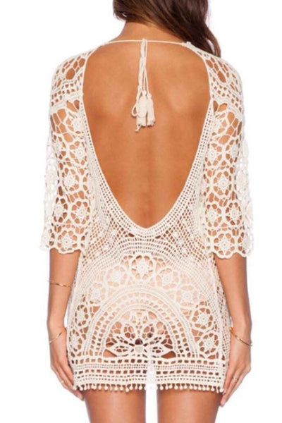 Bikinis white hollow out dress blouse