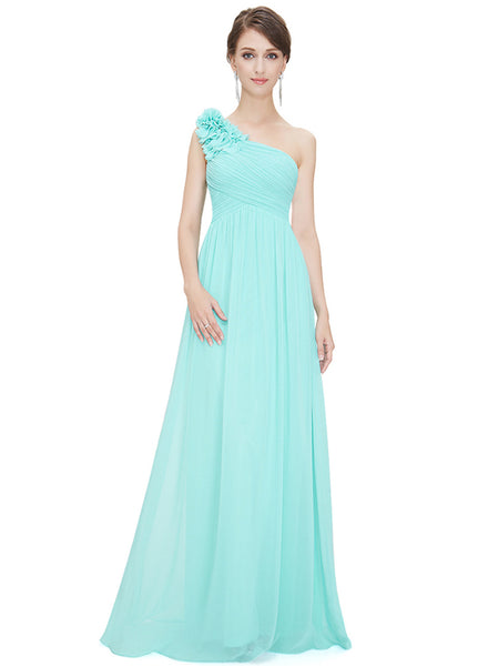 Women's Elegant Solid One Shoulder Wedding Prom Evening Dresss