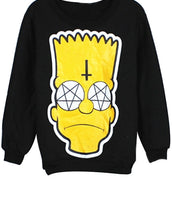 Black Cartoon Fleece Sweatshirt