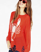 Destroyed Lobster Semi-sheer Sweater